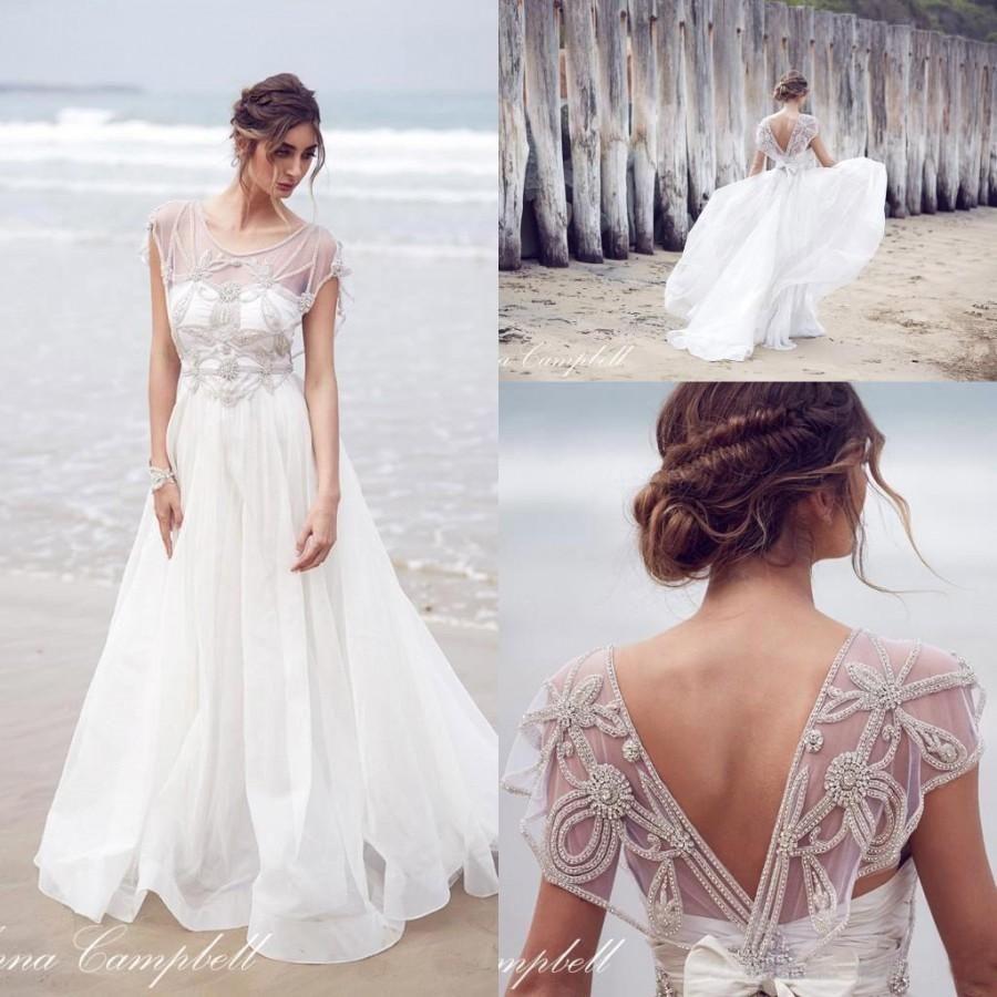 2016 Anna Campbell New Sheer Cap Sleeves Organza A Line Wedding ...