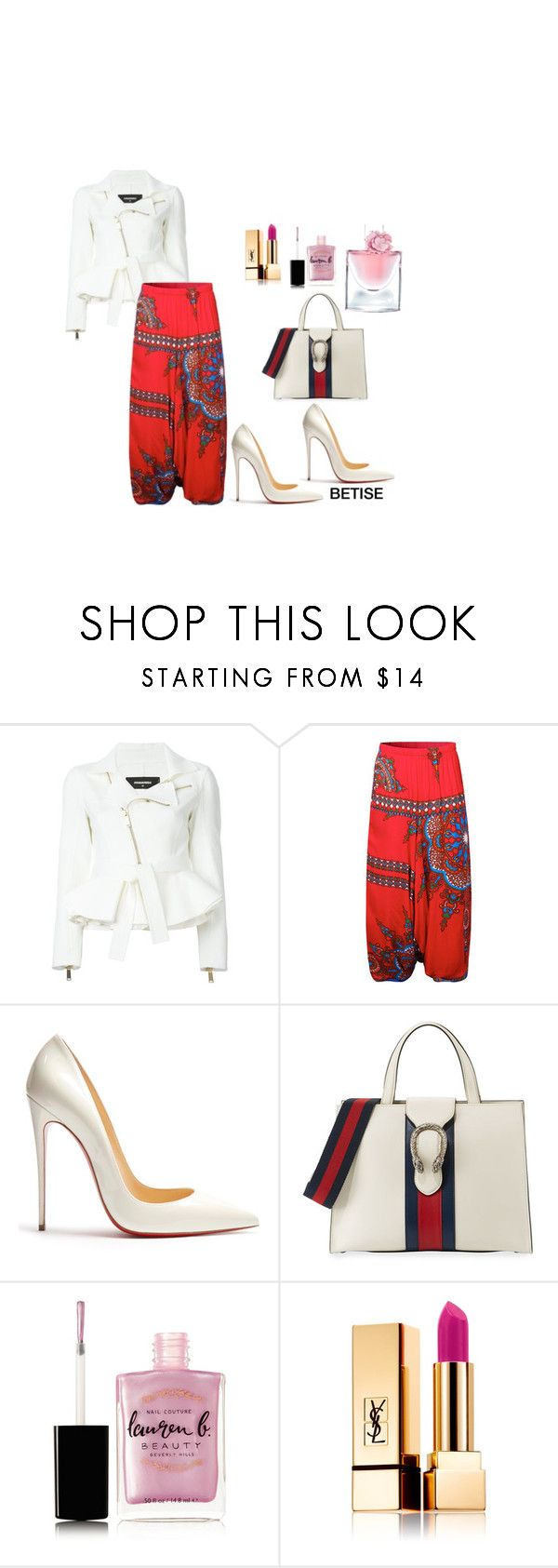 """""""CLASSY !"""" by betty-sanga ❤ liked on Polyvore featuring Dsquared2, Christian Louboutin, Gucci, Lauren B. Beauty, Yves Saint Laurent and Lancôme"""