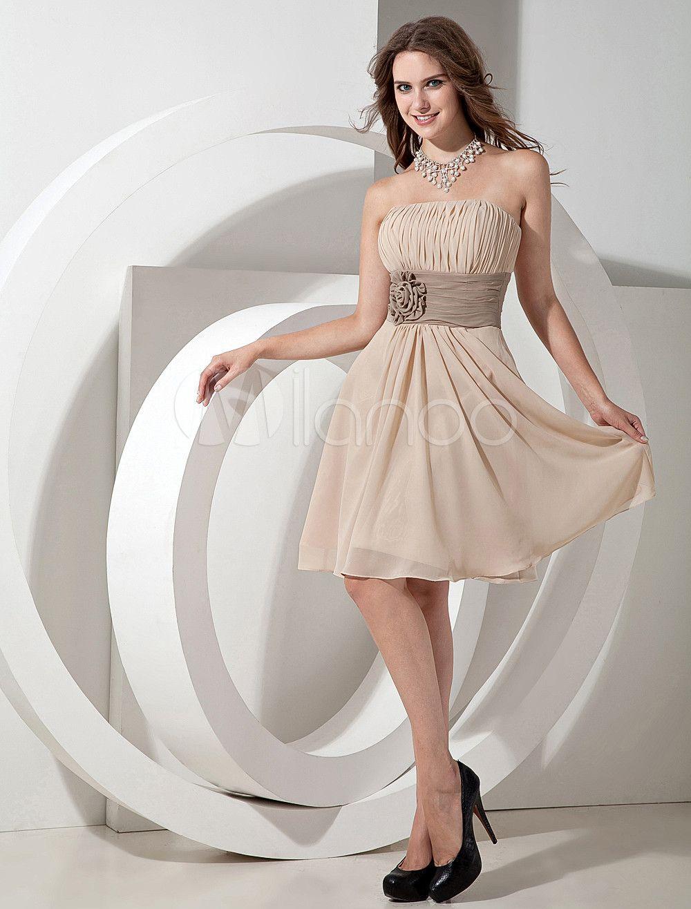 Chiffon Strapless Knee Length Bridesmaid Dress With Flowers   Women ... ab4d71e1a0
