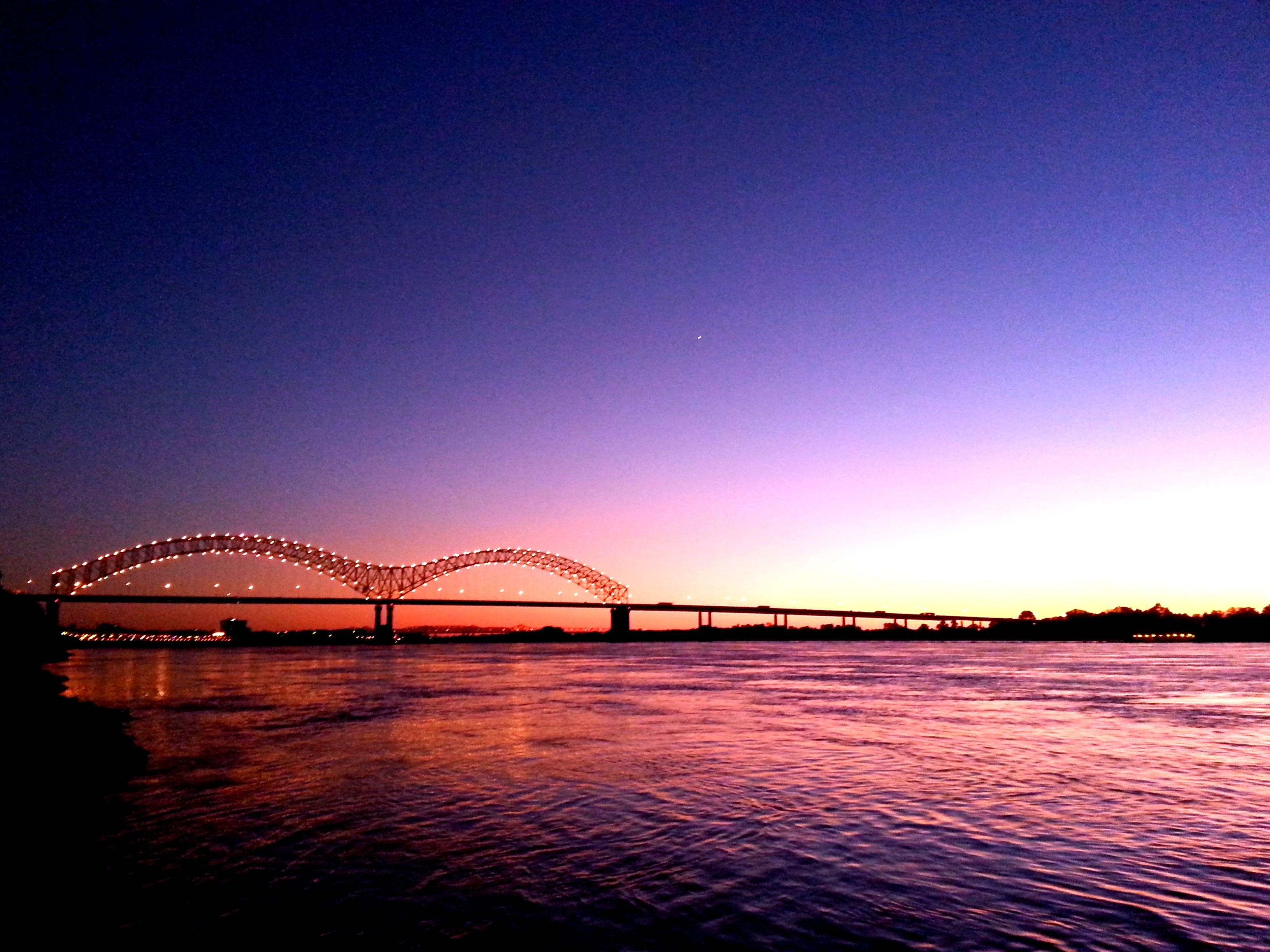 Sunset Over The Mississippi River Hernando De Soto Bridge