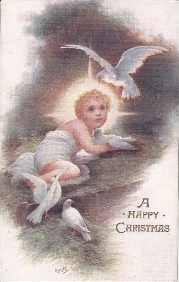 TUCK #8706; CHRISTMAS; Child Angel with doves, Shining light, 00-10s