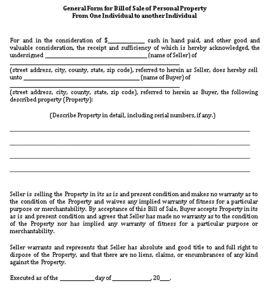 General Bill Of Sale Bills Business Template Bill Of Sale Template
