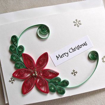 Handmade Paper Quilled Christmas Card Merry Christmas Poinsettia Free Quilling Patterns Quilling Christmas Paper Quilling For Beginners