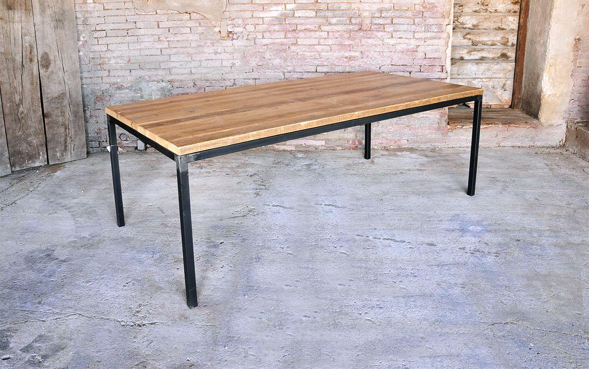 tavolo in ferro brunito e legno - Cerca con Google | Wood table ...