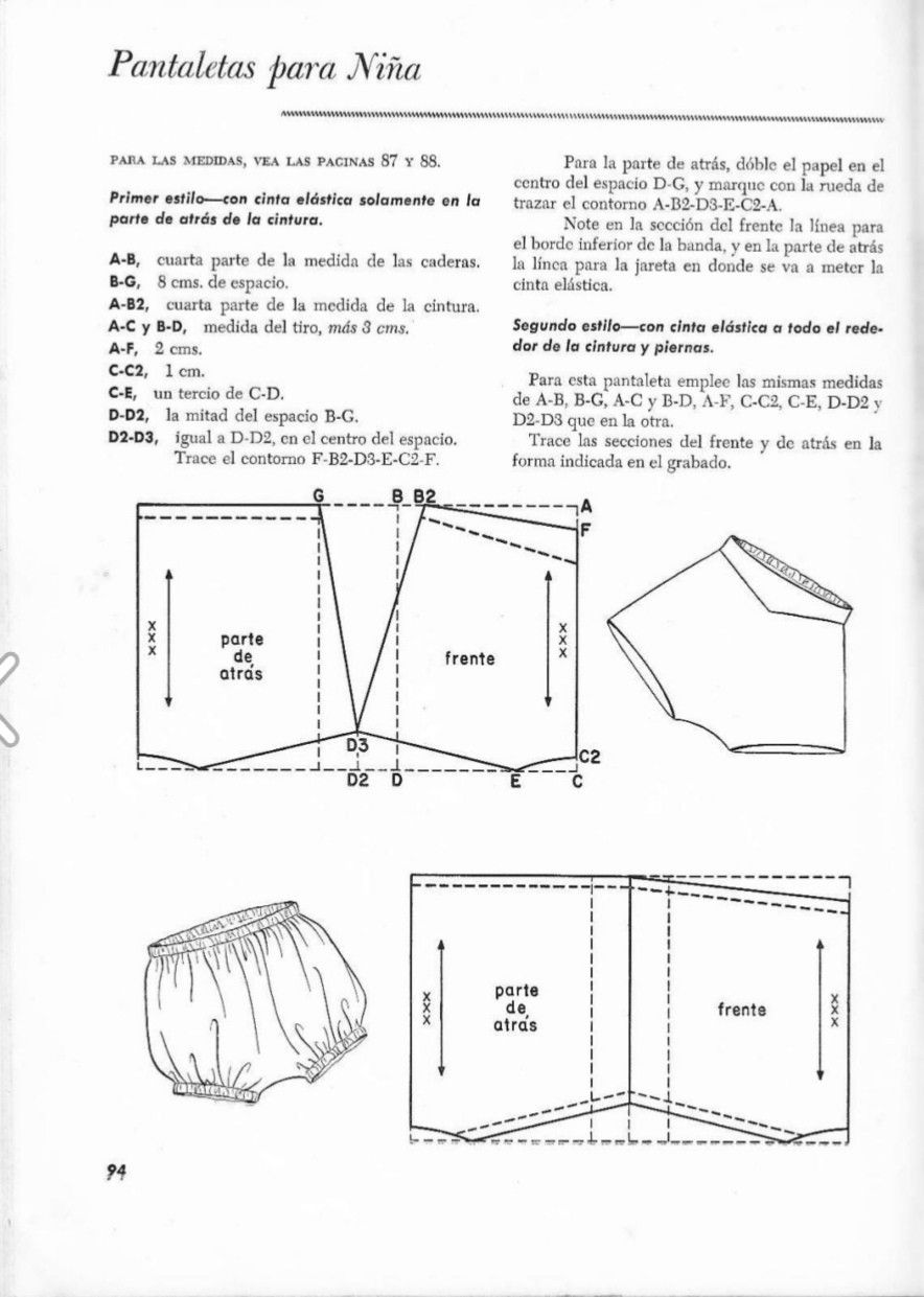 Patrón pantalón corto con frunces de niña | costura patronaje diseño ...