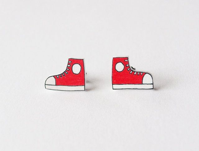 Red High Top Shoe Stud Earrings Made To Order by rare indeed $8
