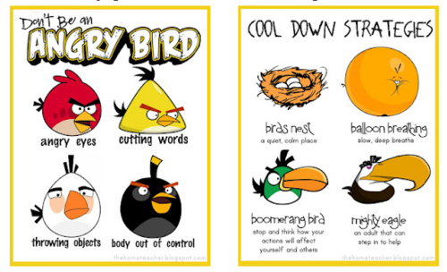 Angry bird behavior modification posters    Don't be an Angry Bird…Cooling Down Strategies and more! Free printable book (for kids to write in) and posters!