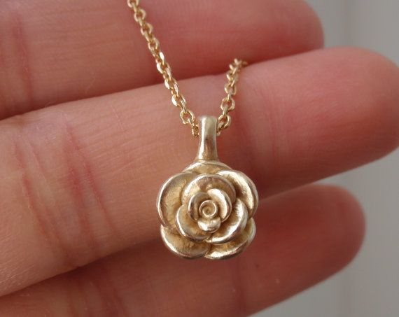 necklace jewelry gold stem yellow pendant com rose amazon with and dp