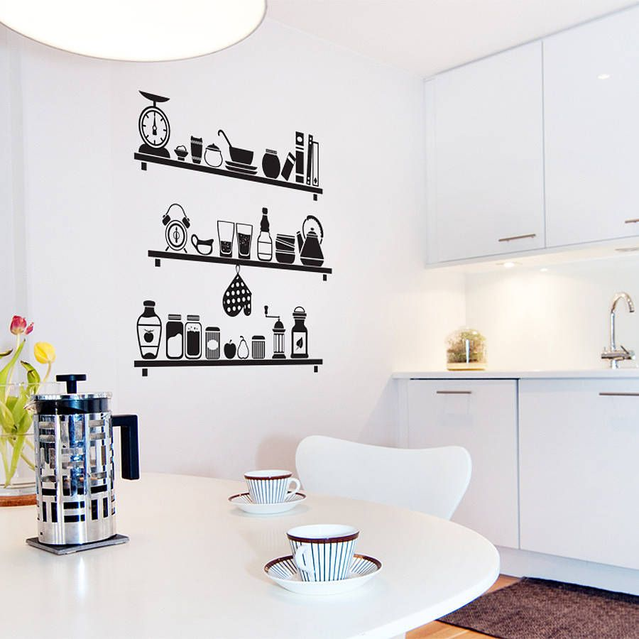 Scandinavian Kitchen Shelves Wall Decal By SirFaceGraphics,