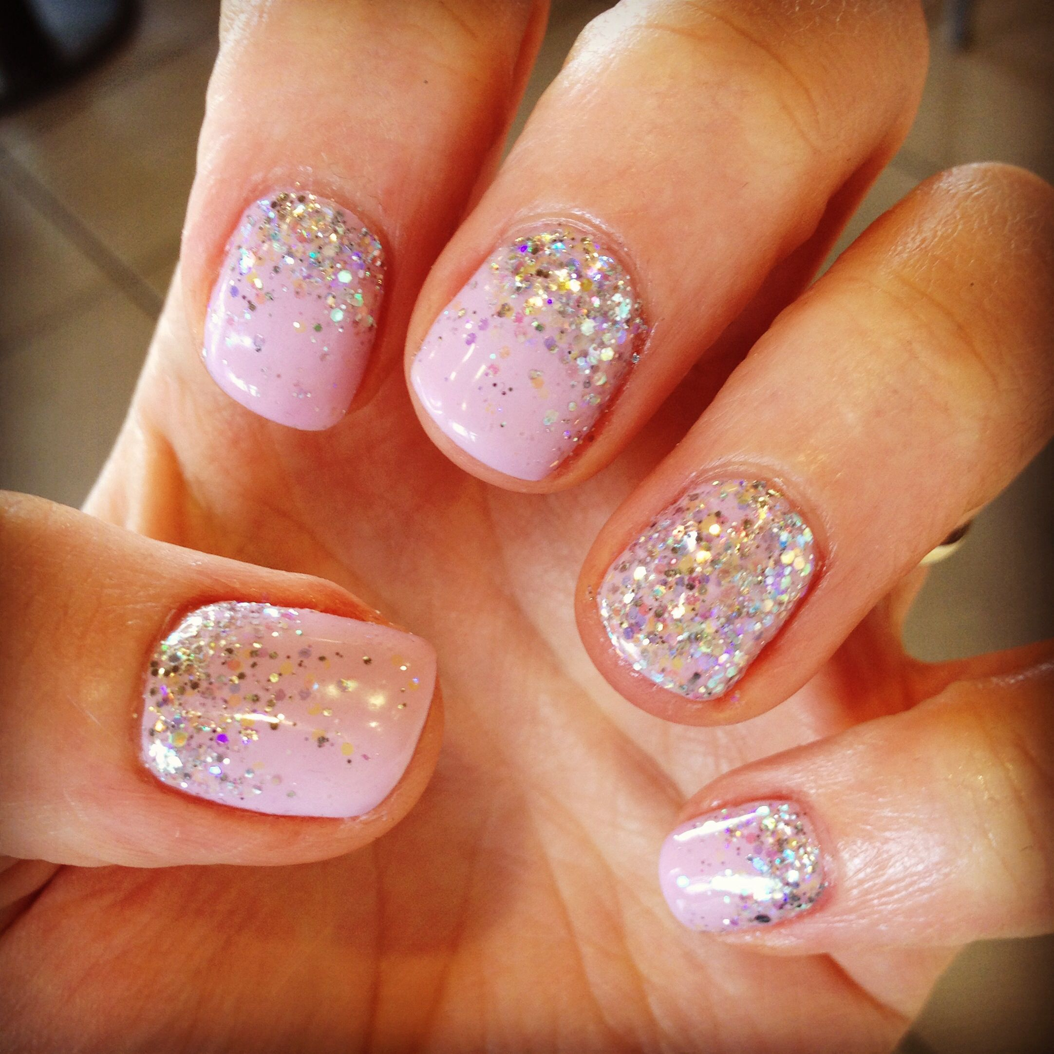 Pink Sparkly Wedding Nails