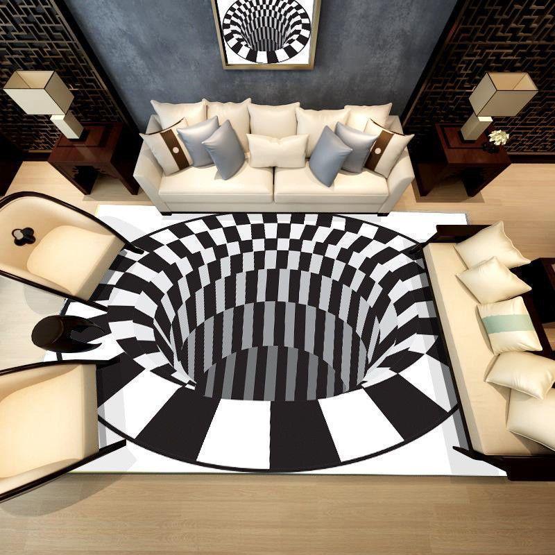 Non Slip Area Rug Home 3d Printed Square Carpet Living Room