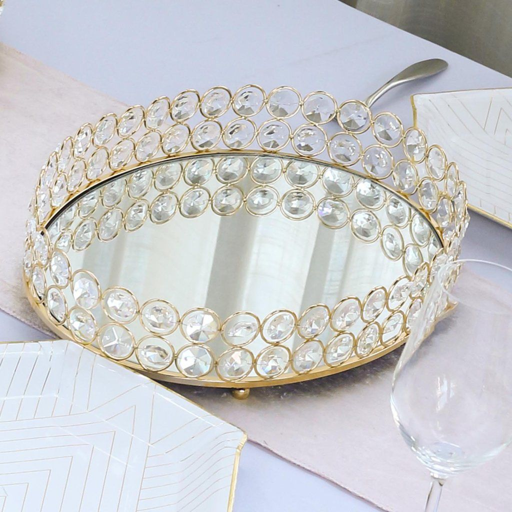 14 X 10 Gold Metal Decorative Serving Tray Oval Crystal Beaded Mirrored Vanity Tray In 2020 Serving Tray Decor Mirror Tray Beaded Candle
