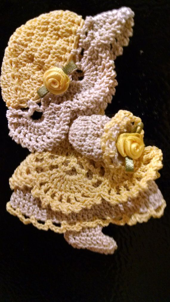 Crocheted Sunbonnet Sue Yellow and off-white. by WishnWellGifts on ...
