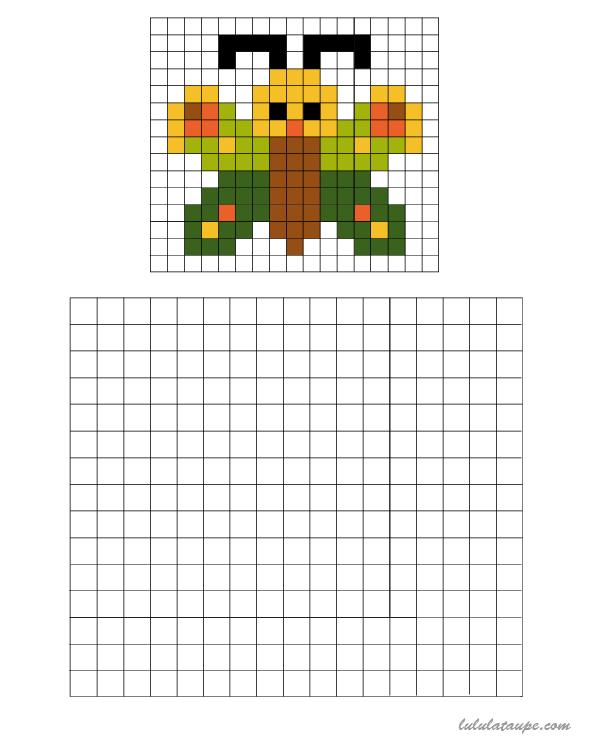 Pixel Art Un Papillon à Colorier Sur Une Grille Pixel Art