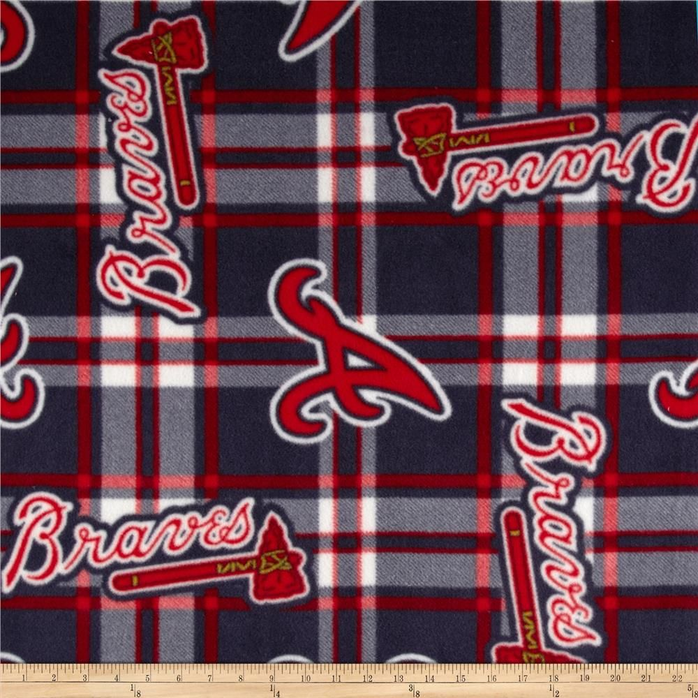 Mlb Fleece Atlanta Braves Plaid Navy Red In 2020 Braves Atlanta Braves Quilting For Beginners