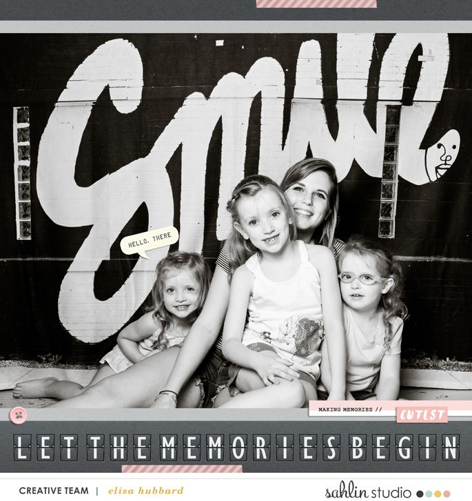 SMILE Let the Memories Begin - Digital scrapbooking layout using Project Mouse: Beginnings Kit and Journal Cards by Sahlin Studio and Britt-ish Designs