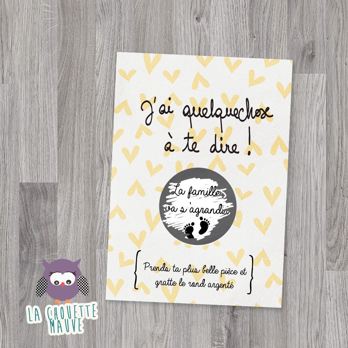 Mini carte à gratter personnalisable pour une annonce de grossesse  originale… 8ff2aeceecf