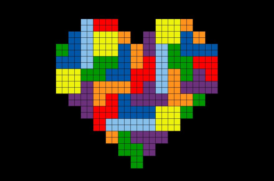 Tetris Heart Pixel Art Pixel Art Tiny Cross Stitch Pixel