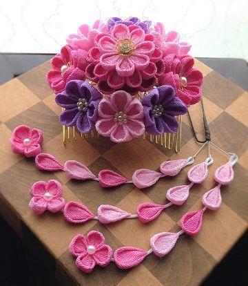★sweetピンクの花飾り(コームかんざし)垂付き