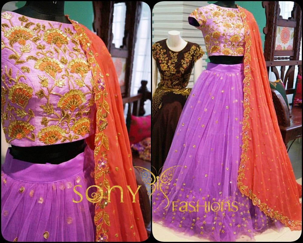 Beautiful lavender color lehenga and blouse with embroidery work from Sony Fashions. Best suitable for