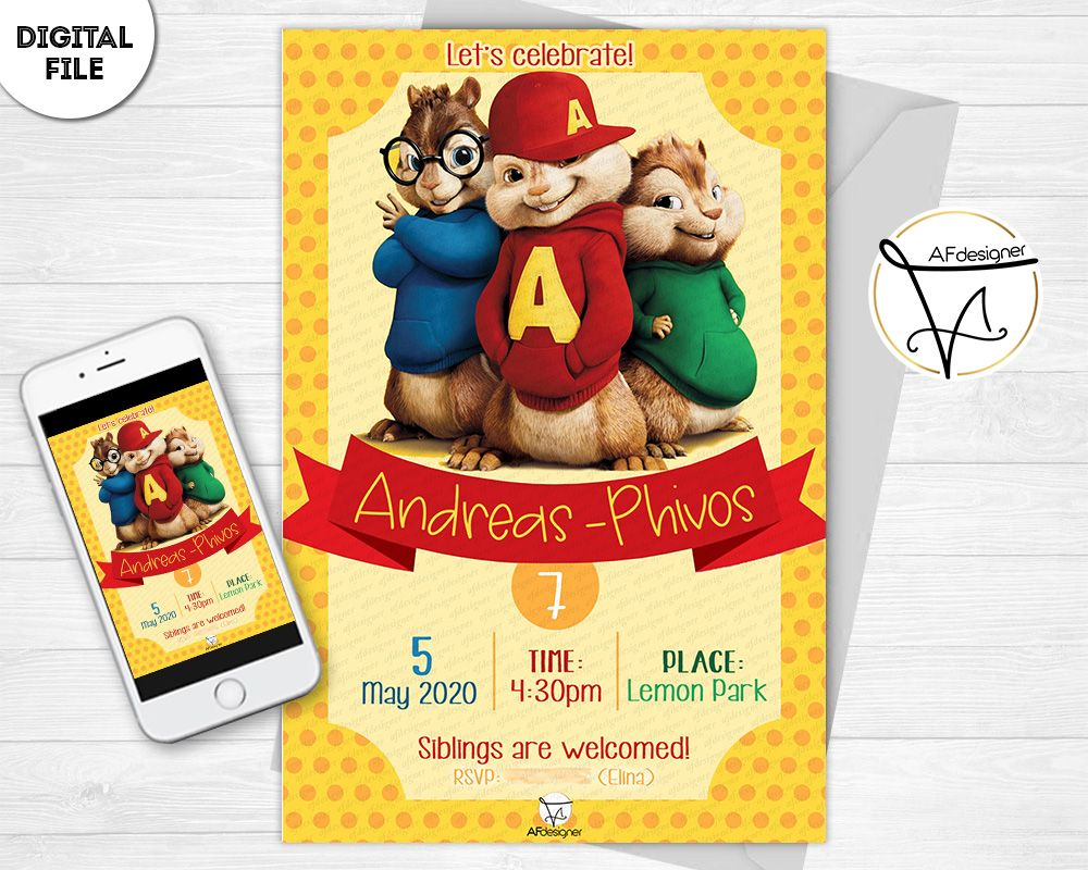Digital Invitation Birthday Party Alvin Superstar Printable Alvin Invitation Whatsapp Invitation Only Files Festa Tema Alvin Superstar In 2020 Digital Invitations Birthday Digital Invitations Birthday Invitations