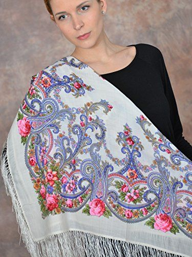 1463-1 Butterfly dream Ladies scarves Wool Shawl Natural Original Pavlovo Posad