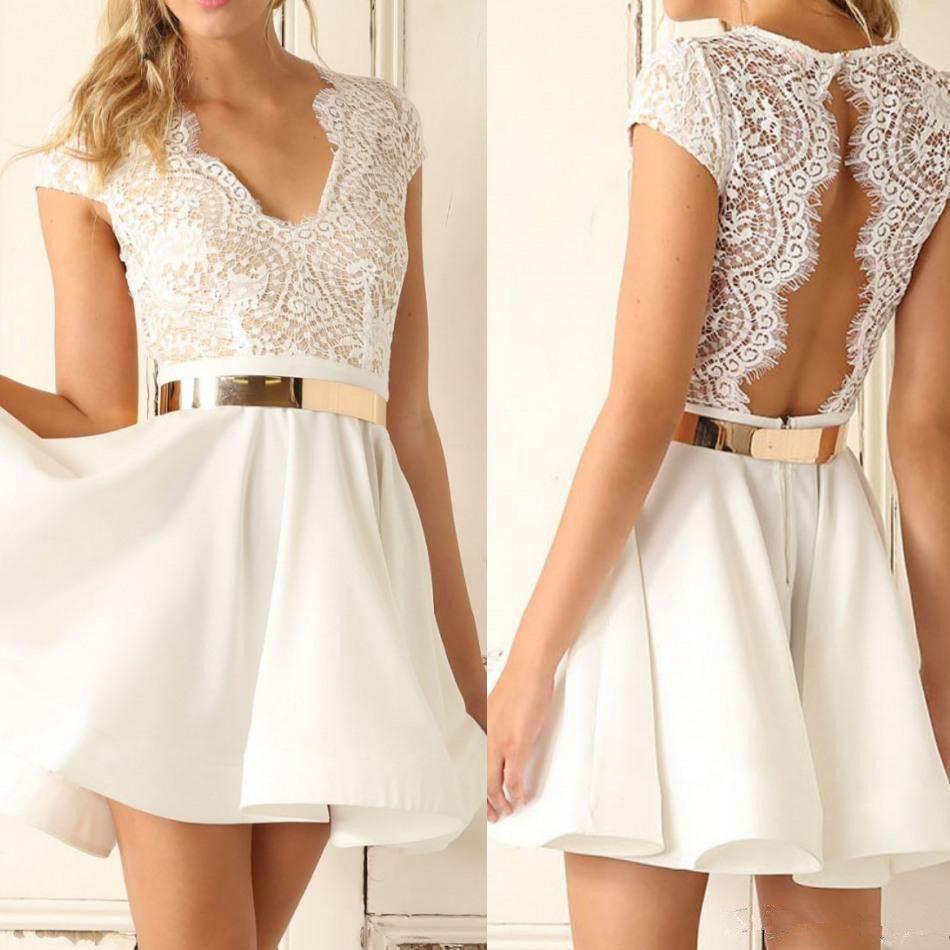 White prom dresses short party dresses homecoming dress white