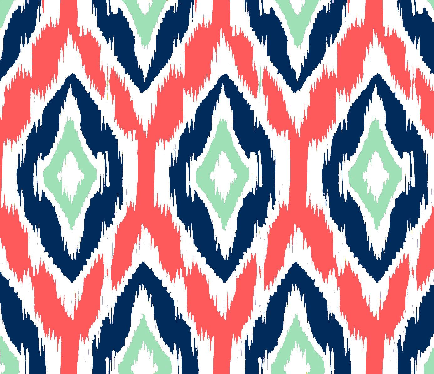 Chevron print fabric by the yard - Ikat Fabric By The Yard Coral Navy And Mint