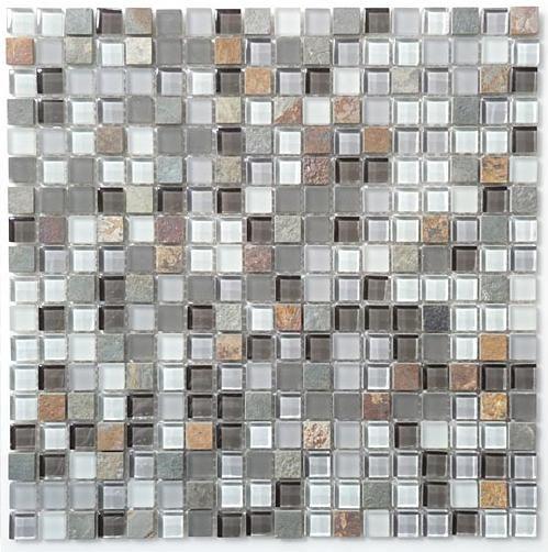 Sample Slate Stone Glass Gray White Linear Mosaic Tile: Mirage Glass & Slate Series Sag Harbor Gray GS05 Mosaic