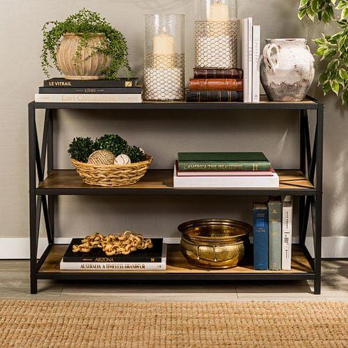 Photo of Rustic Oak 40″ X-Frame Metal & Wood Bookshelf