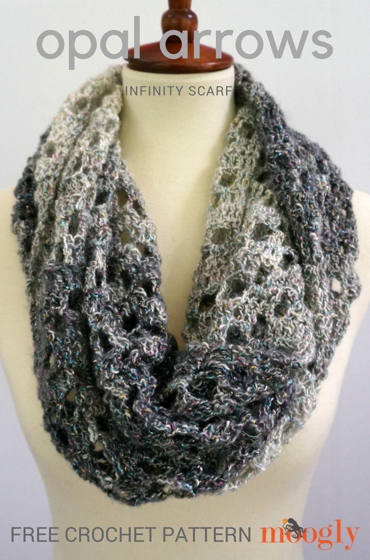 Opal Arrows Infinity Scarf - free one skein crochet pattern on ...