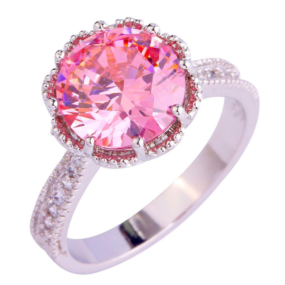 Women Gift Pink White Fashion Jewelry Silver Ring Size 6 7 8 9 10 11 ...