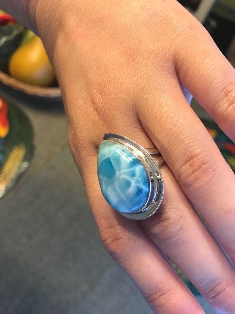 HUGE Natural Larimar Dominican Republic 7.5 Sterling Silver 925 Pear Shape Ring #HandmadeByArtist #Statement