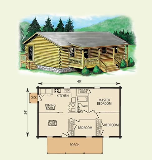 Small log cabin 3 bed room single story afordable log for Three story log cabin