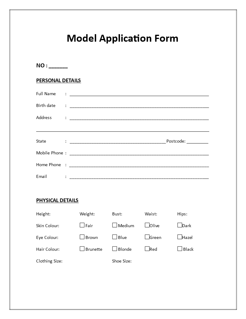 Model Application Form - Download this Model Application Form if you ...