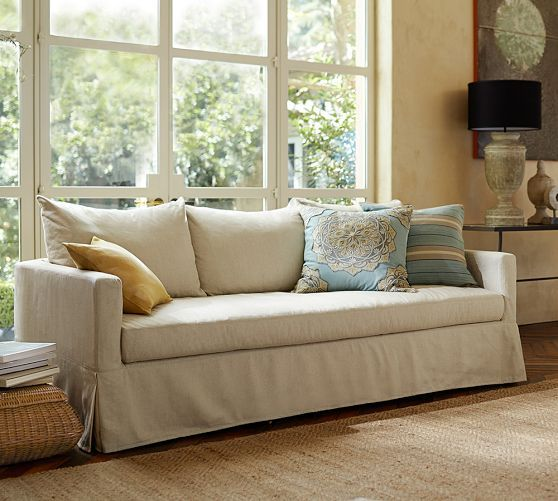 Pottery Barn Catalina Slipcovered Sofa With Bench Cushion Down Blend Wrap Cushions Twill Cream