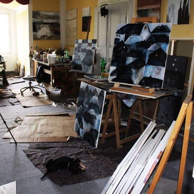 Abstrakt Expressive Malerei Atelierimpressionen Angelika Hiller Atelier Angele Art In Bautzen