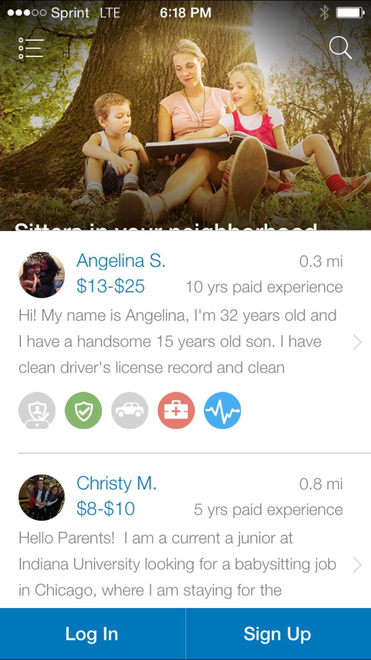 Sittercity babysitter finder app home page click