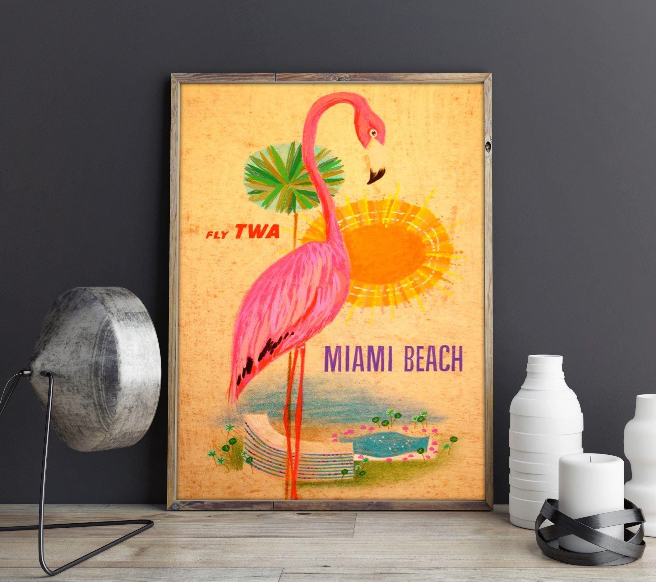 Miami Poster Florida Poster Vintage Miami Poster Miami Print Florida ...