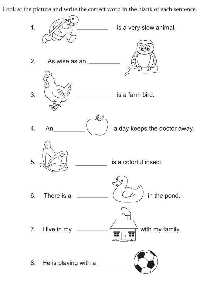 Look At The Picture And Write The Correct Word In The Blank Of English Worksheets For Kindergarten Kindergarten Reading Worksheets English Worksheets For Kids