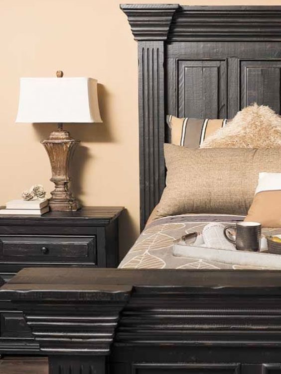 The Rugged Yet Refined Black Isabella Bedroom Collection Is A Generously Scaled Bed With Beautiful Distressed Vintage Finish