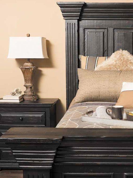 Black Isabella 5 Piece Bedroom Distressed Bedroom Furniture