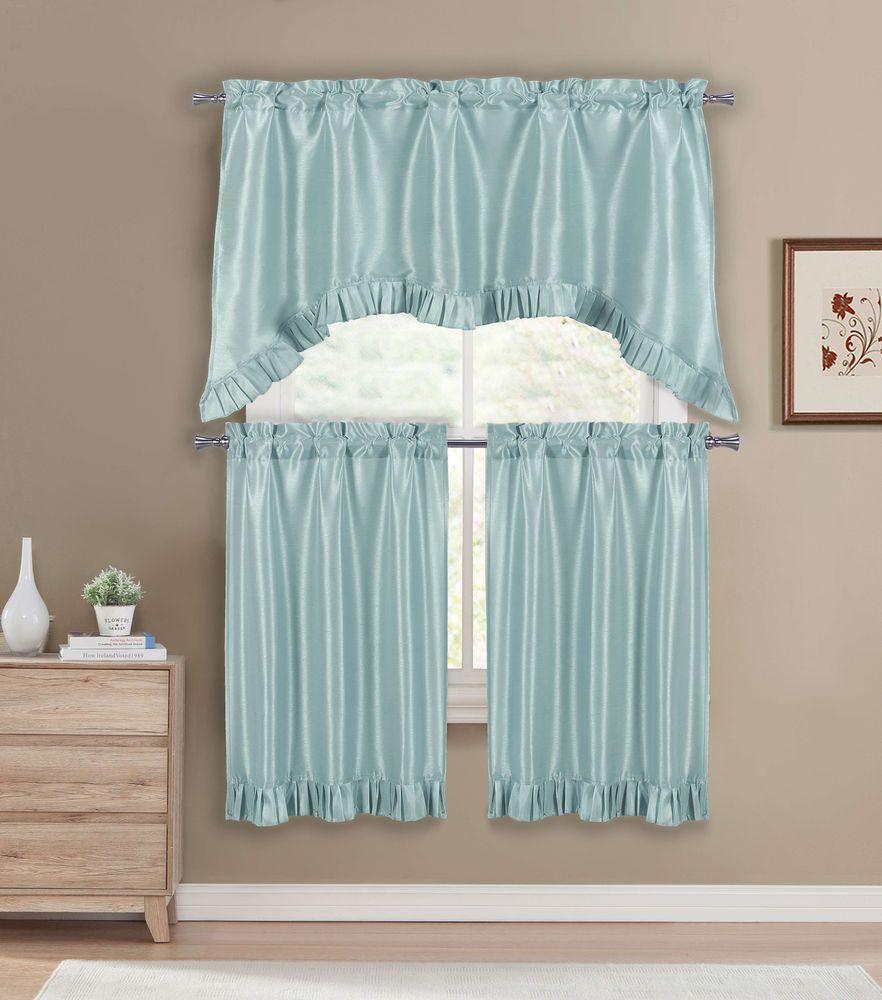 Premium Faux Silk Kitchen Window Curtain Drape Tier Valance Swag