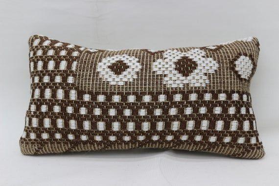 Turkish Pillow,8x16 Nomadic Pillow, Lumbar Pillow Covers, Brown Pillow, Geometric Pillow, Wholesale