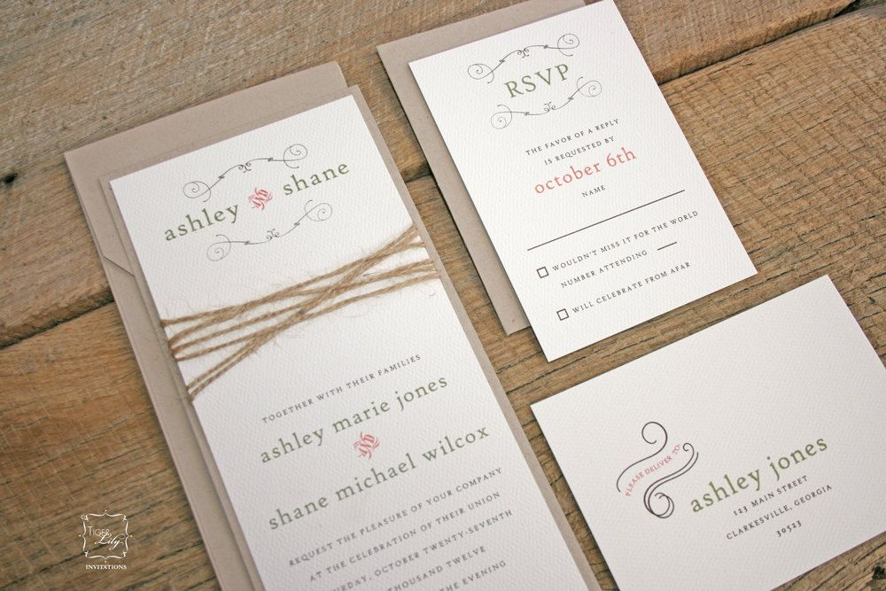 Rustic Twine Wedding Invitation Set via Etsy.   Makin it a Reality ...