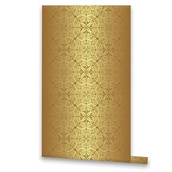 Golden Vintage Style Wallpaper Removable Vinyl Self Adhesive Bling Wall Decal L