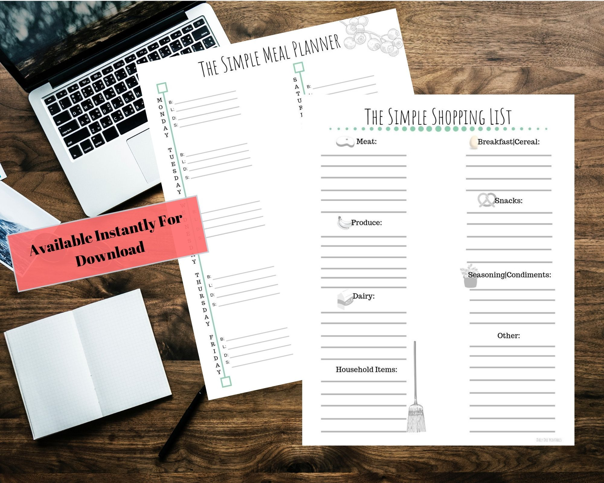Meal Planner And Shopping List Bundle
