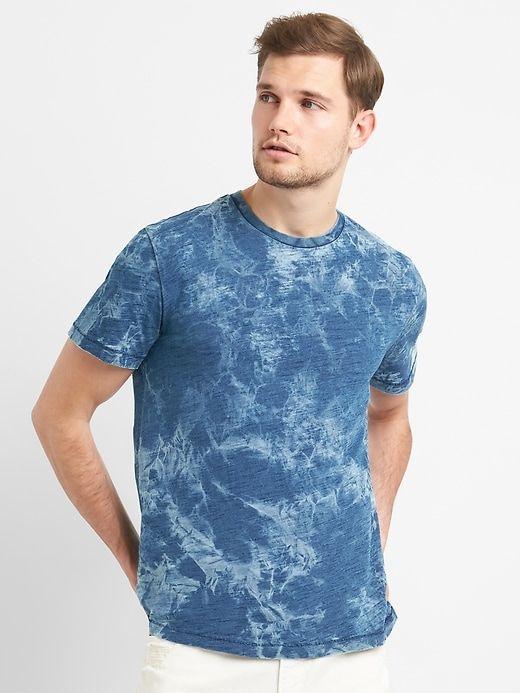 67da991c7 Gap Mens Indigo Print Crewneck Pocket T-Shirt Indigo Tye Dye Tapnavy ...