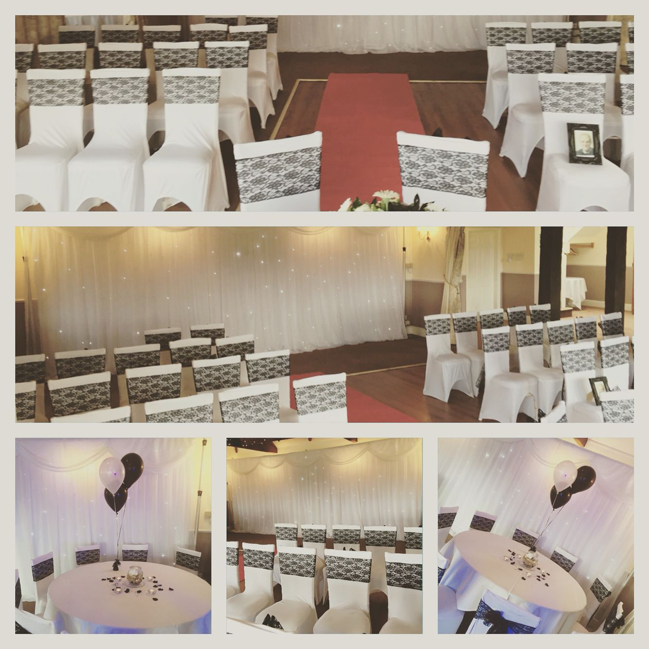 chair cover hire telford shropshire dorel rocking slipcover black lace sashes on white lycra covers by timeless the farmhouse
