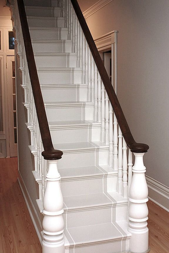 Painted Staircase Ideas, Pattern, Projects, Inspiration, Handrail,  Farmhouse, DIY, Stairways, Chalk, Spindles, Before And After, Design,  Brown, Basement, ...